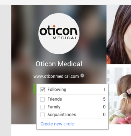 Add Oticon Medical to your circles.
